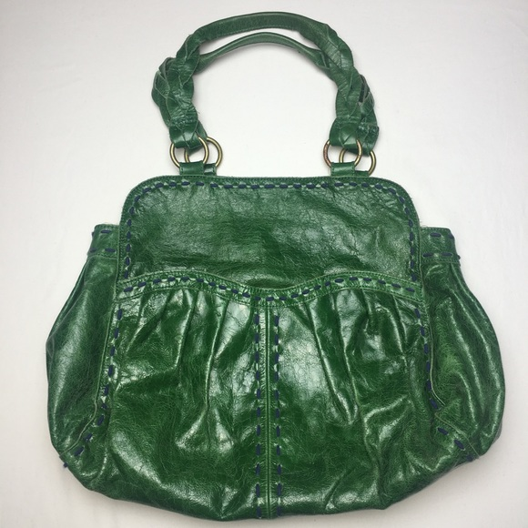 47f74d98c3d4 Anthro {Lucky Penny} Green Vegan Leather Hobo